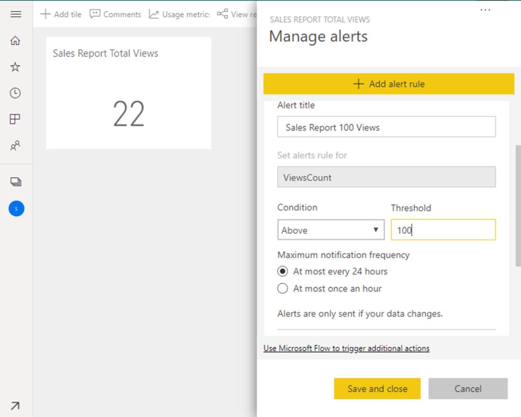 Dashboard Alerts on Usage Metrics