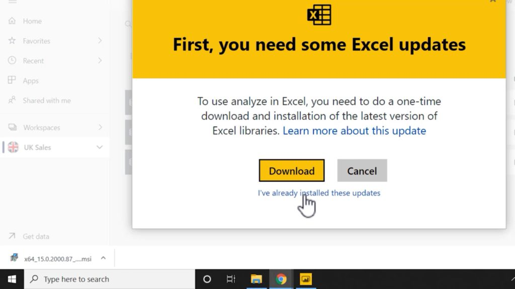 Power BI Analyze in Excel