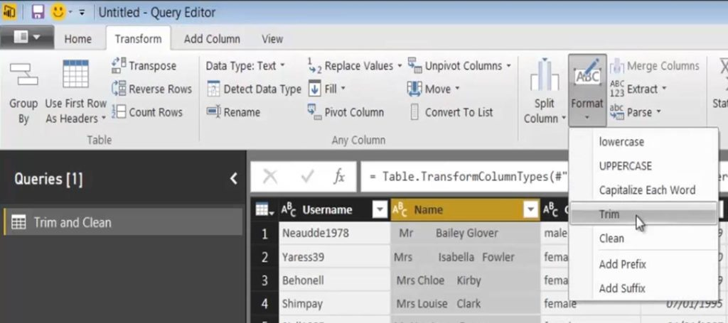 Power BI Trim and Clean