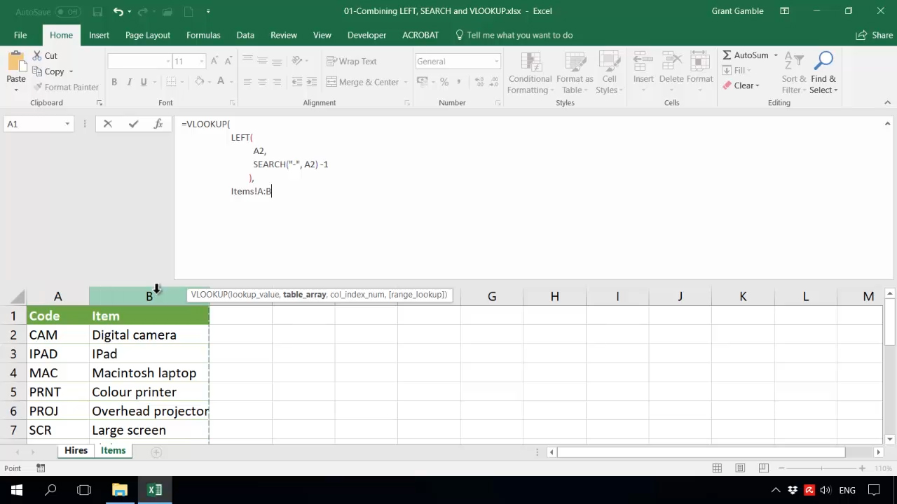 Combining LEFT, SEARCH and VLOOKUP - G Com Solutions Limited
