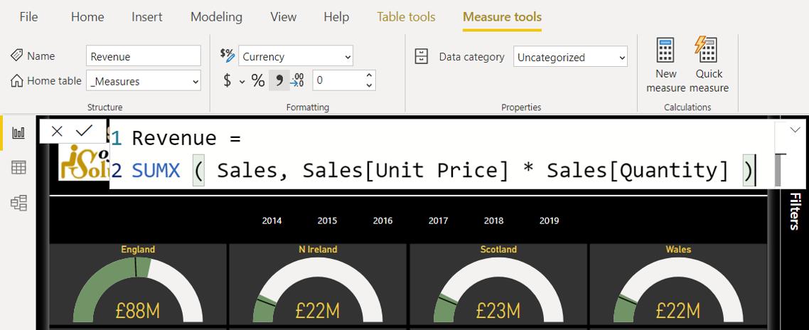 DAX Revenue calculation