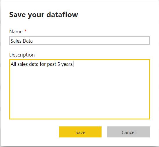 Saving a Dataflow