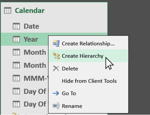 Creating a Hierarcy in Power Pivot