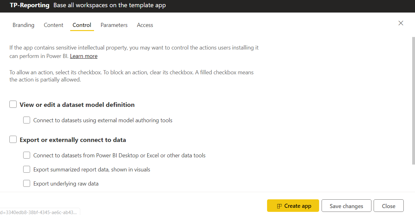 Power BI Template App Control