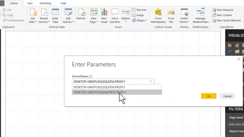 Power BI Parameterizing SQL Server Connections