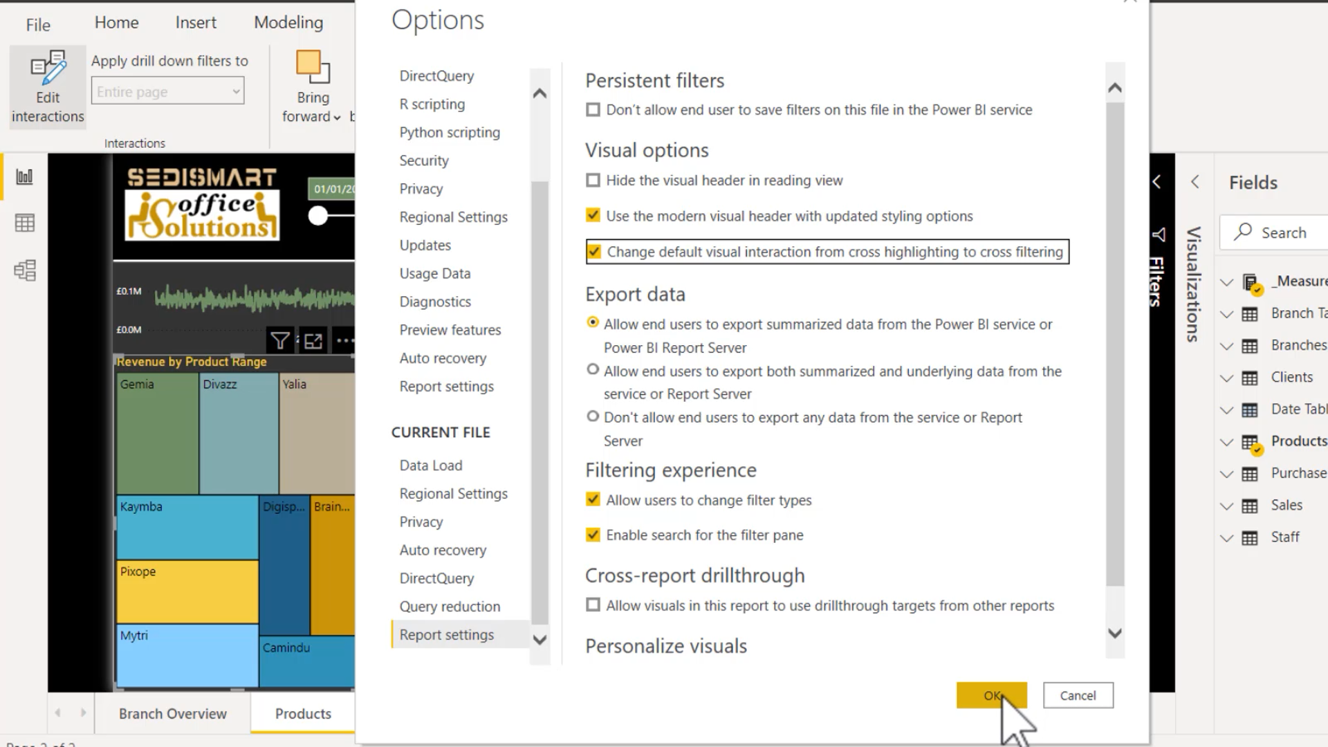 Exam DA-100: edit and configure interactions between visuals | Cross-Highlighting and Cross-Filtering