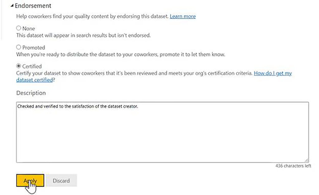 Promote or certify a dataset